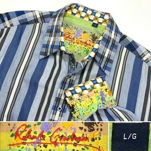 Robert Graham Sz Large Dress Shirt w Flip Cuffs